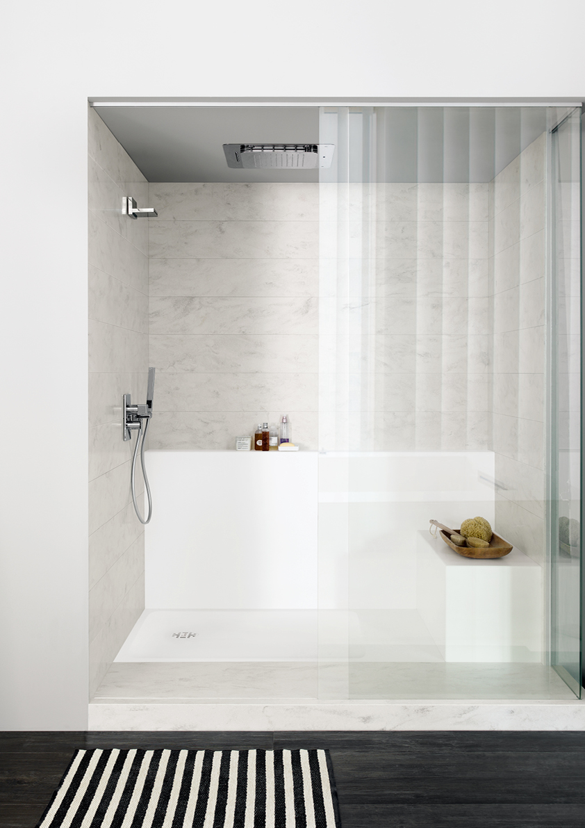 Corian Smart Shower Tray Wall Shelf And Seat In Solid Surface Designer White Panel Rain Cloud